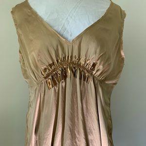 Gold, sleeveless silk top by Rozae Nichols